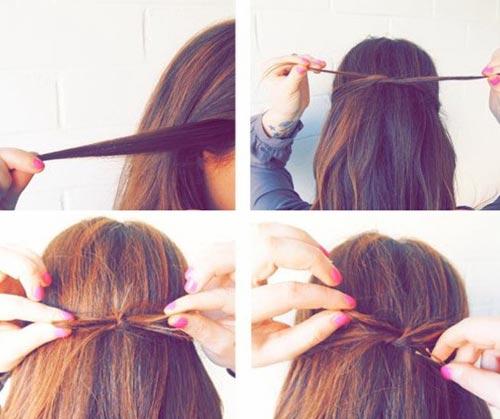 Как сделать бант из волос на длинных волосах